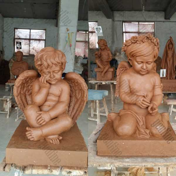 Giant high polished marble headstone with angel cherubs statue carving tombstone for sale for grave from factory supply with competitive price
