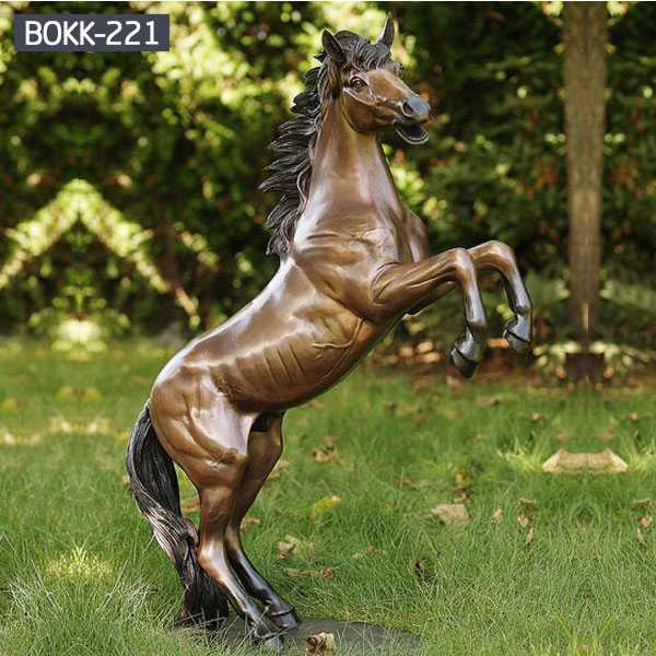 Large Antique Bronze Jumping Horse Statue for Decorating -BOKK-221