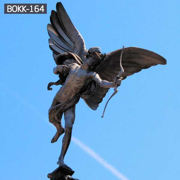 Large Outdoor Sculpture Bronze Guardian Angel Statue with Bow BOKK-164