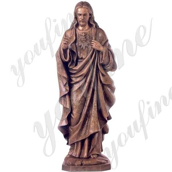 Life Size Antique Bronze Catholic Religious Sacred Heart of Jesus Statue for Sale BOKK-642