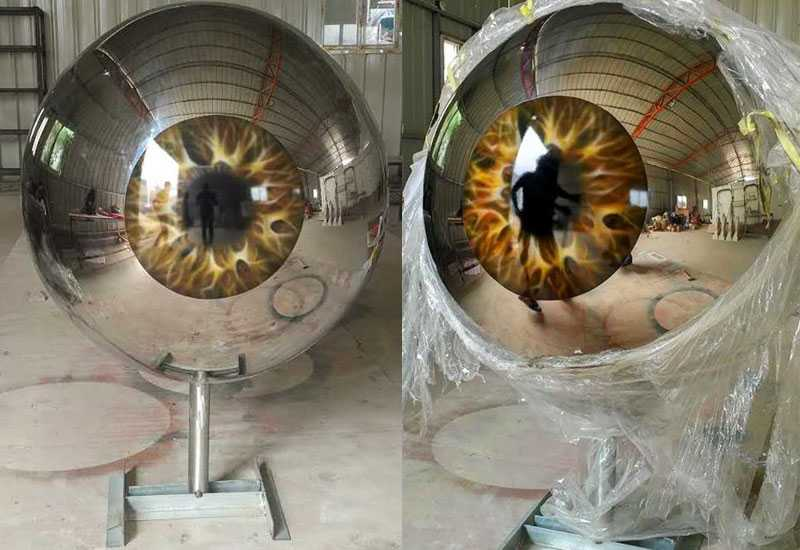Life Size Modern Stainless Steel Eyeball Design Steel Artworks Artists Sculpture for Garden Decoration for Sale