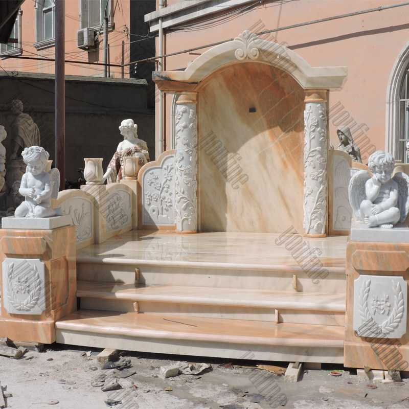 Giant High Polished Marble Headstone with Angel Cherubs Carving Tombstone for Grave MOKK-323