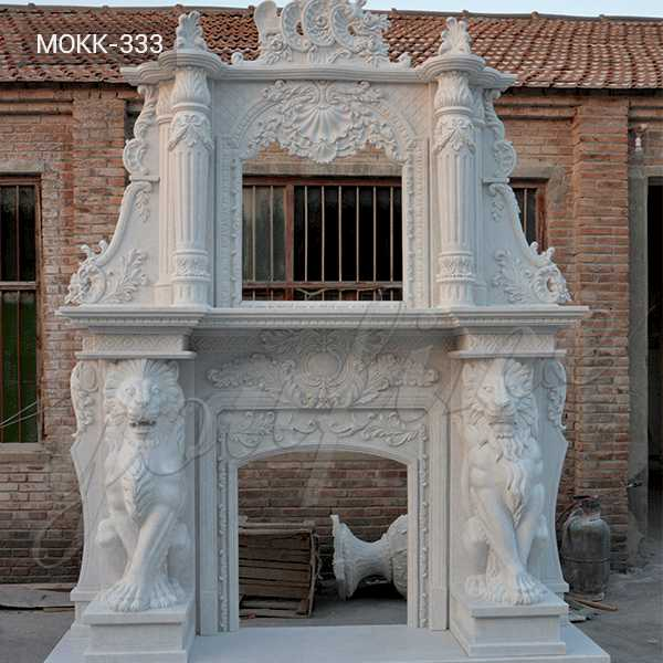 MOKK-333 Large White Overmantel Fireplace Contemporary Hand Carved Marble Fireplace Mantels and Surround for Sale from China Factory