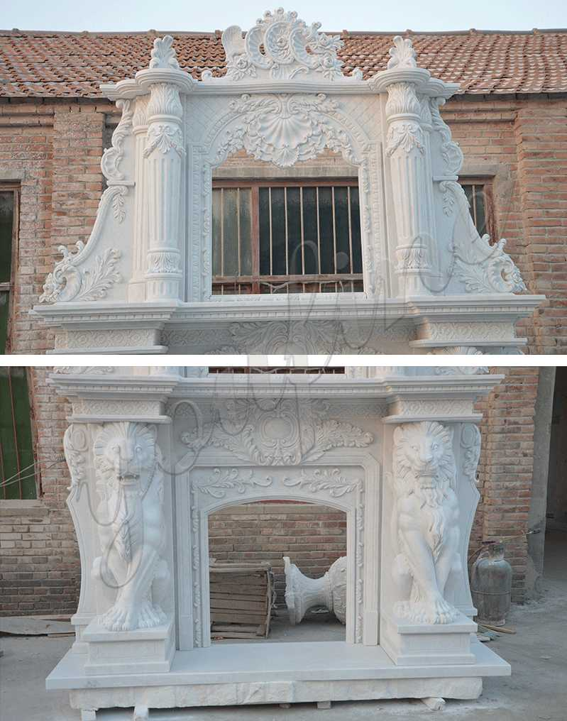 MOKK-333 large fireplace contemporary hand carved marble fireplace mantels and surrounds for sale from China factory