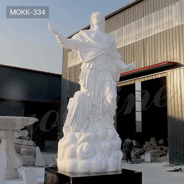 MOKK-334 Large Catholic Statue Virgin Mary with Cherub Statue with Hand Carved White Marble Design for Outdoor Decor for Sale