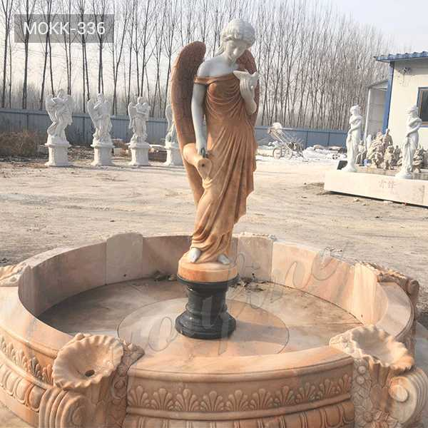 Modern Beige Marble Garden Angel Fountains for Front Yard Decor for Sale MOKK-336