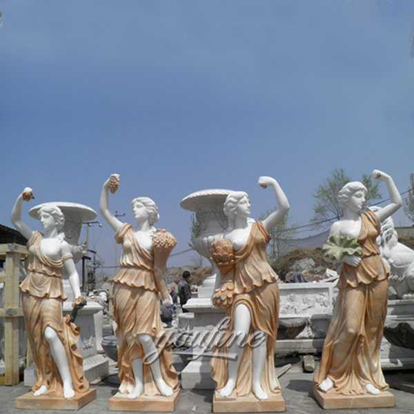 MOKK-337 Life Size Hand Carved Four Season Maidens Sculpture White Marble Women Statue Design for Garden Decor for Sale