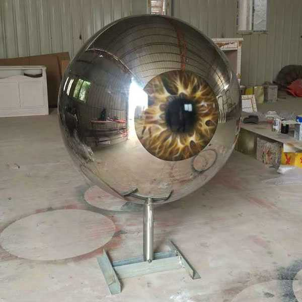 Modern Stainless Steel Eyeball Design Steel Artworks Artists Sculpture for Garden Decoration for Sale