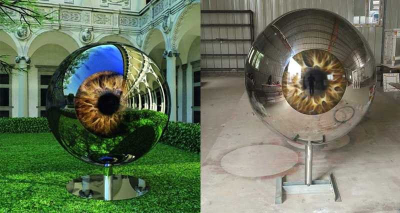 Modern Stainless Steel Eyeball Design Steel Artworks Artists Sculptures for Garden Decoration for Sale
