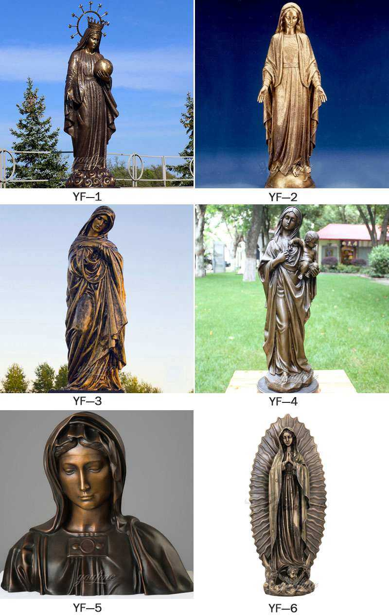 Our Lady of Fatima and Three Shepherd Children bronze religious statue