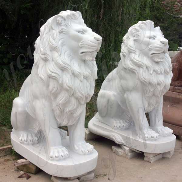 Pair of White Marble Stone Lion Guardian Statue Outside Life Size for Front Porch Decor for Sale from China MOKK-326
