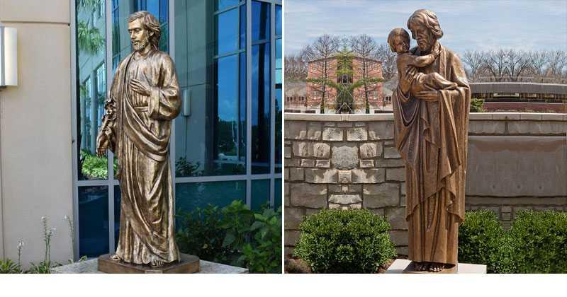 St joseph holding baby bronze religious statue outdoor designs