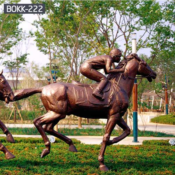 Bronze Sculpture of a Man Riding a Horse-BOKK-222