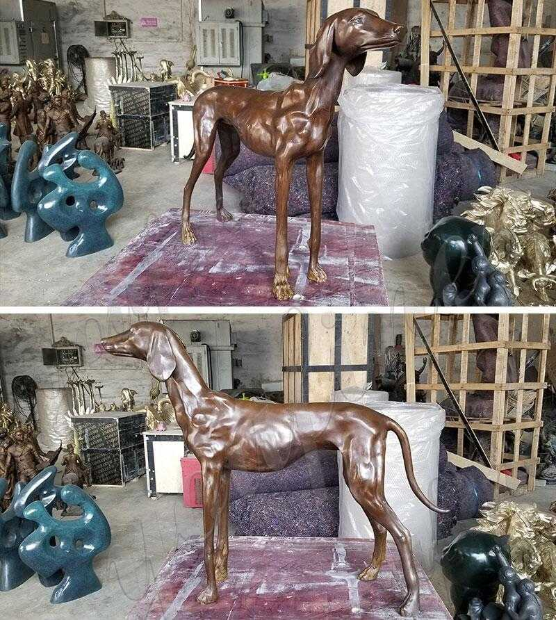 life size antique bronze greyhound statue for sale