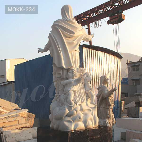 life size catholic statue virgin mary with cherub statue with hand carved white marble design for sale