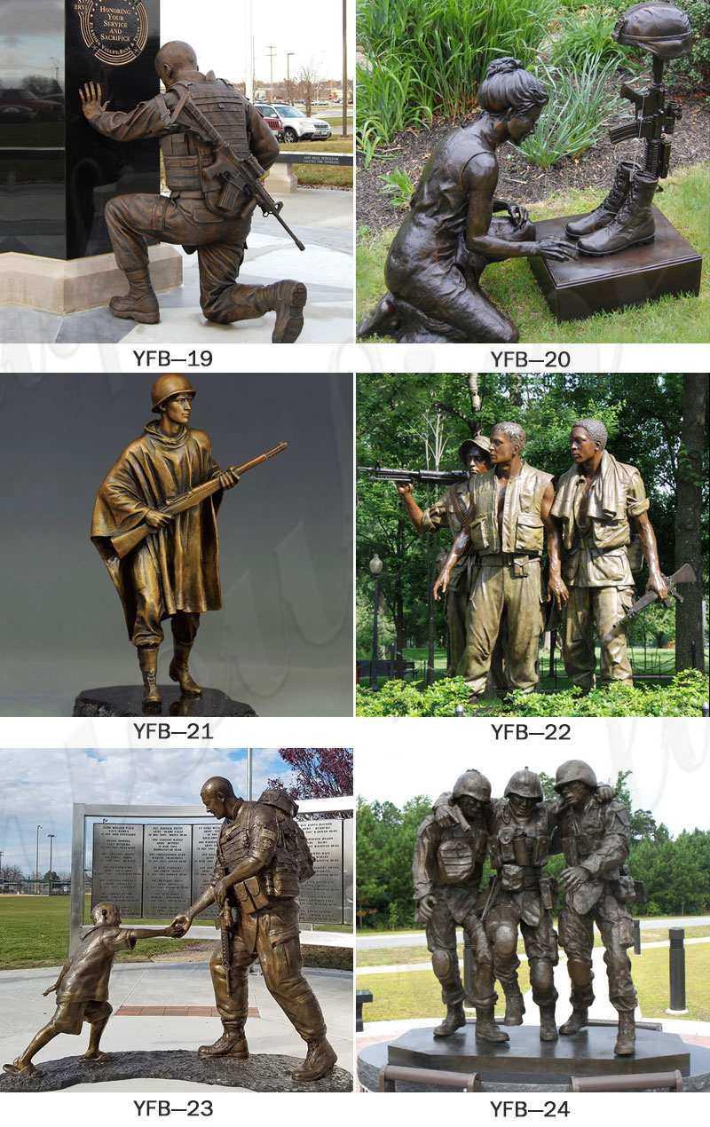 life size kneeling soldier bronze statue