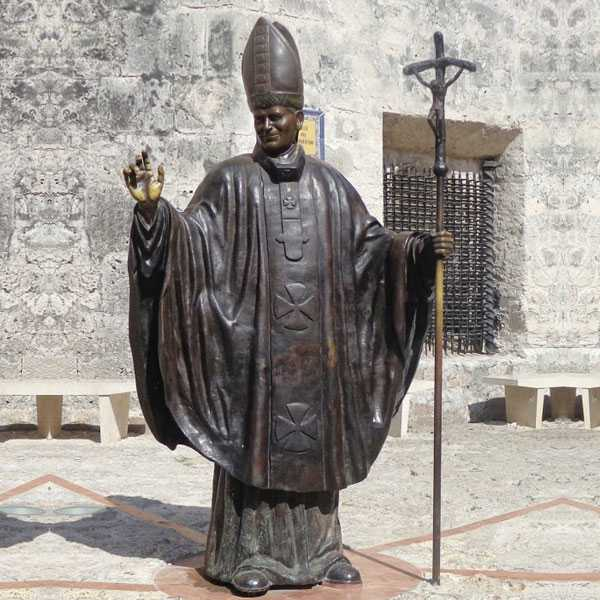 BOKK-616 Life Size Bronze Pope John Paul II Statue Catholic Bronze Religious Design Outdoor for Sale