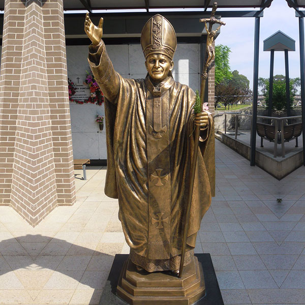 Outdoor Bronze Catholic Garden Statues of Bronze Pope Saint John II for Sale BOKK-619