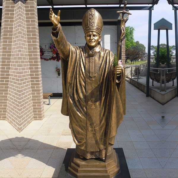 BOKK-619 outdoor bronze catholic garden statues of bronze pope saint John II for sale