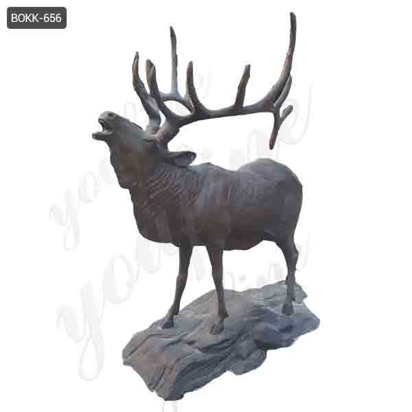 Life Size Bronze Elk Statues Outdoor Antique Wildlife Animal Statue for Sale BOKK-656