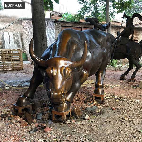BOKK-660 Life Size Antique Bronze Wall Street Bull Statue Replica for Our American Friend to Decor His Farm