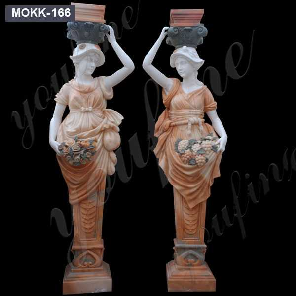 Beautiful Figure Lady Column Statue Modern Pillar Designs Stone Drivew6ay Entrance Columns For Sale MOKK-166