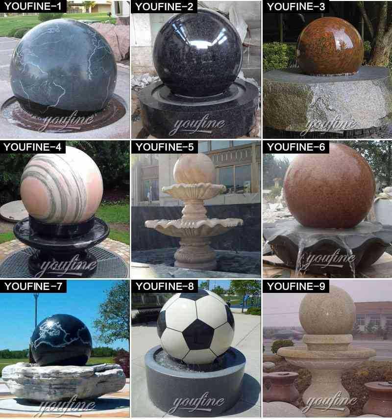 Black Garden Fountain Ball Rotating Granite Ball Fountain