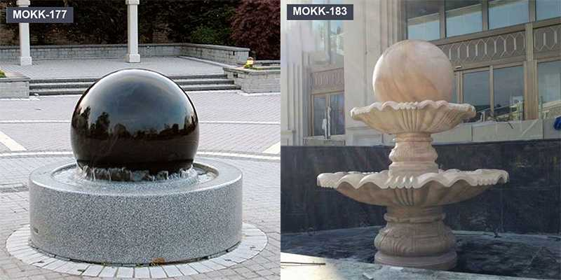 Black Marble Round Floating Ball Water Fountain