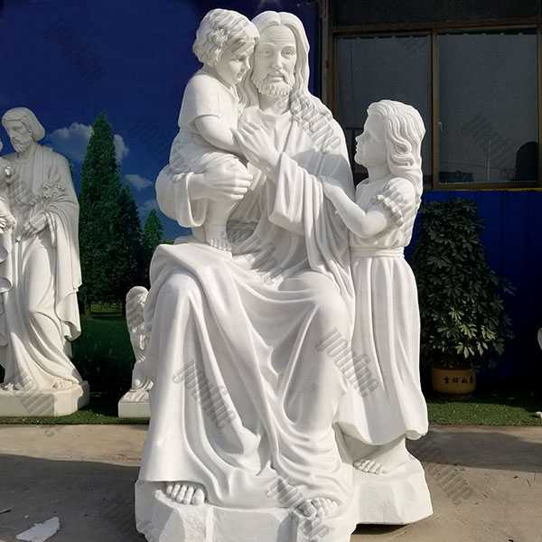 CHS-740 Life Size White Marble Christ Jesus with Children Statue for Garden Decor Catholic Saint Statue Design for Sale from China Factory