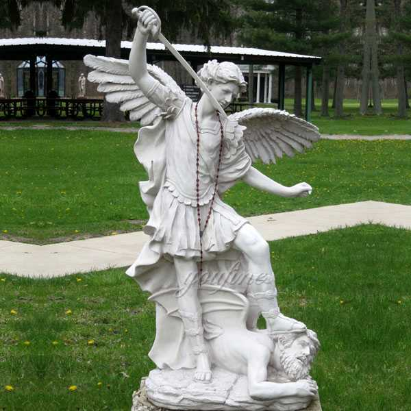 CHS-743 Life Size Catholic Religious Marble Statue Large Saint Archangel Statue with Hand Carved for Sale for Lawn Ornament from China Factory