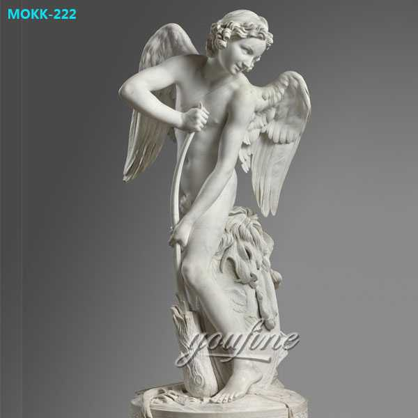Famous Art Sculptures Bouchardon Cupid Cutting His Bow Marble Angel Statue for Garden Decor MOKK-222