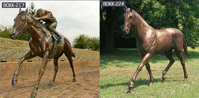 Hand Carved and High Polished Life Size Bronze Horse Garden Sculpture for Sale-BOKK-234