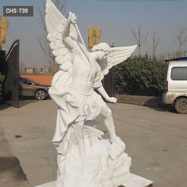 Hand carved marble st michael the archangel outdoor statue life size religious statues for sale