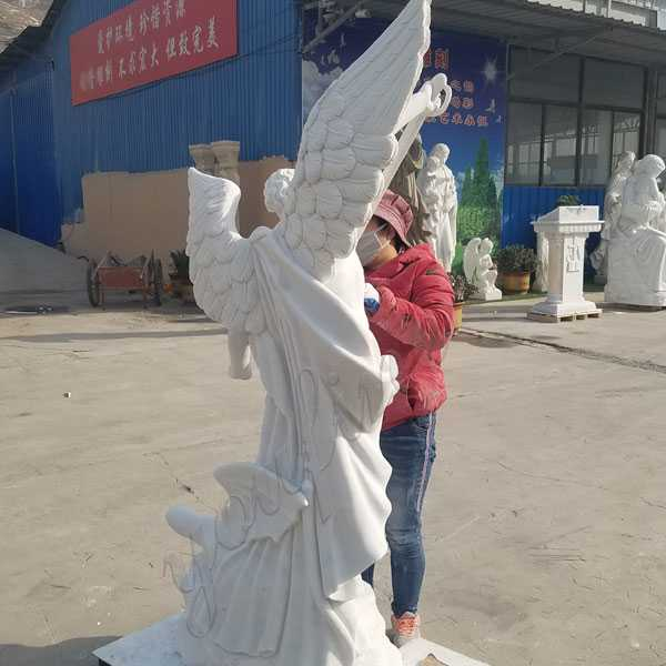 Hand carved marble st michael the archangel outdoor statue religious statues catholic for sale