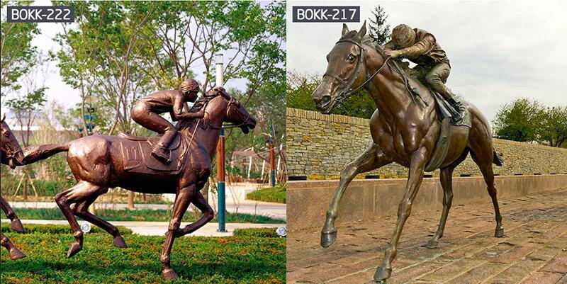 Large Bronze Outdoor Life Size Jumping Hoof Horse Statue For Sale-BOKK-235