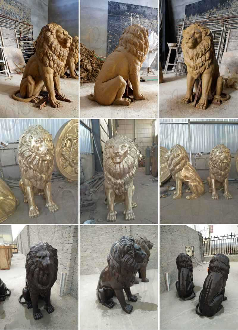 Life Size Bronze Casting Flying Lion Statue for Front Porch