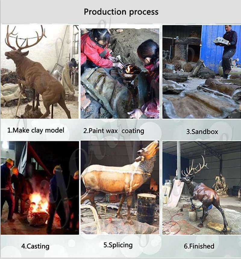 Life Size Bronze Elk Statues Outdoor Antique Wildlife Animal Statue for Sale