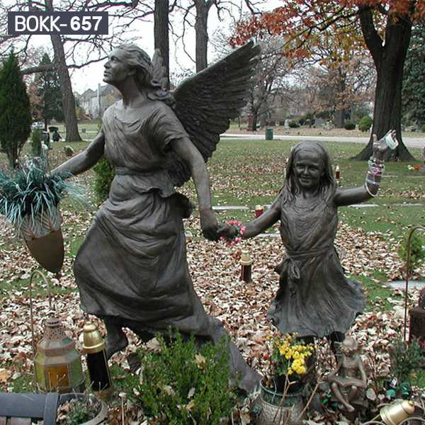 Life Size Cast Bronze Erica's Angel Bronze Statue Memorial Garden Sculpture BOKK-657