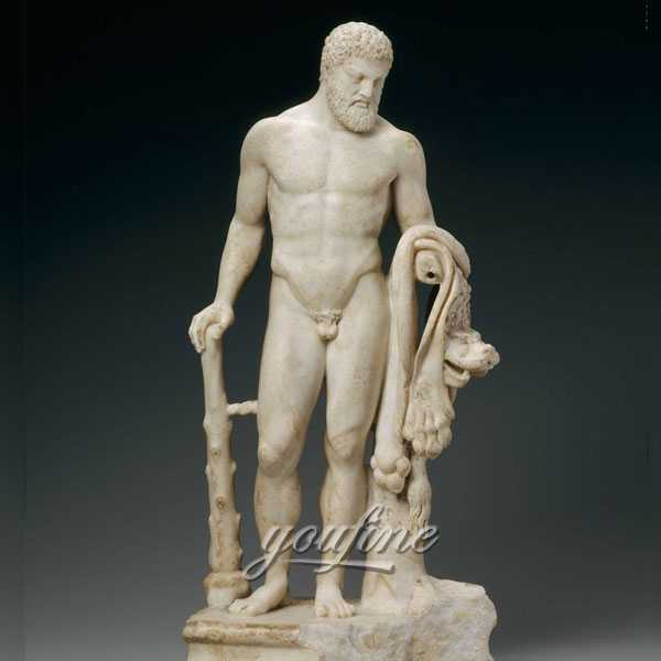 Life-size Hercules Marble Hand-carved Sculpture for Outdoor Decoration Effects is Selling - MOKK-226
