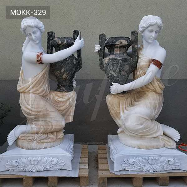 Paired Hand Carved Beauty Lady Holding Planter for Garden Decor on Stock for Sale MOKK-329