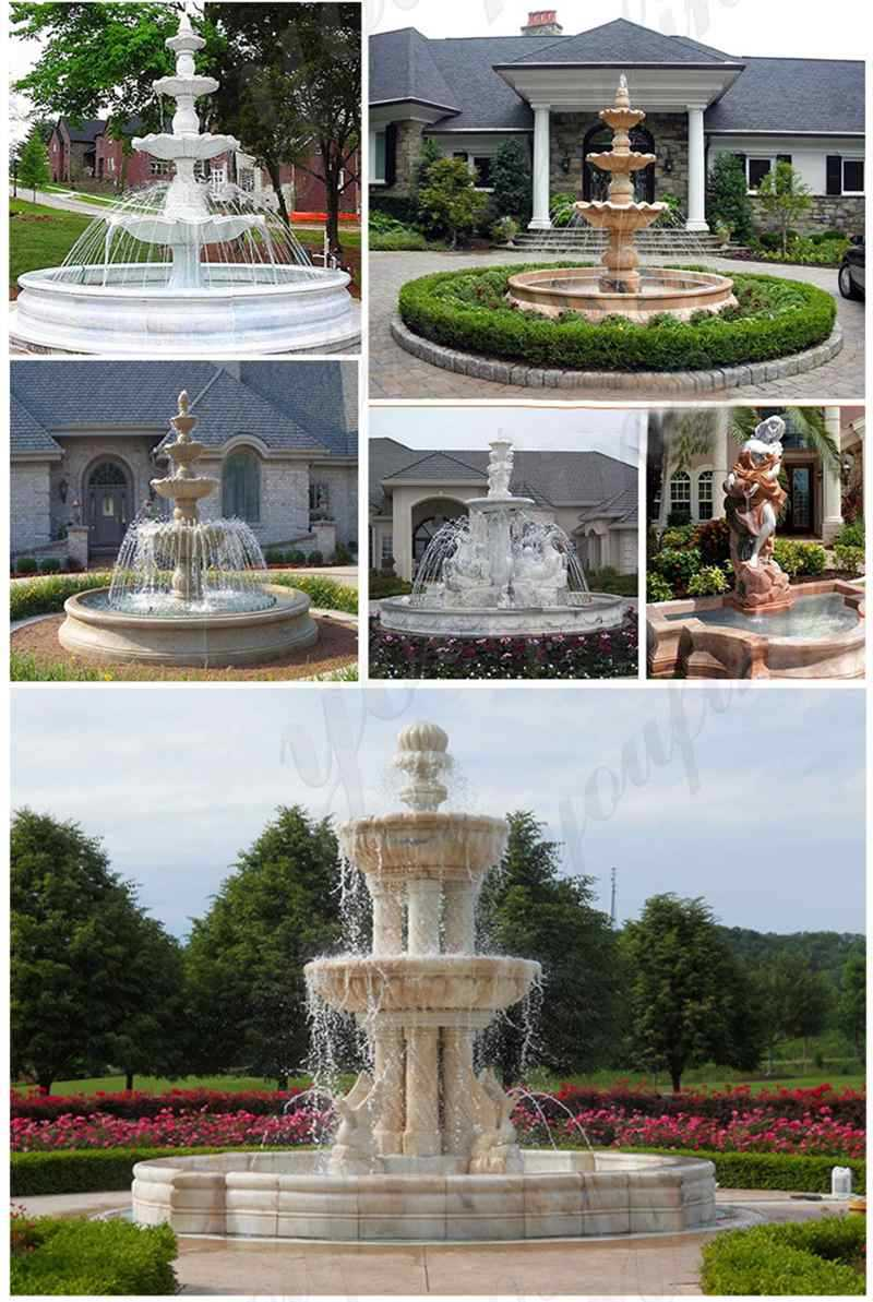 Pure White Marble Fountain with Figure Statues Design for Front Yard