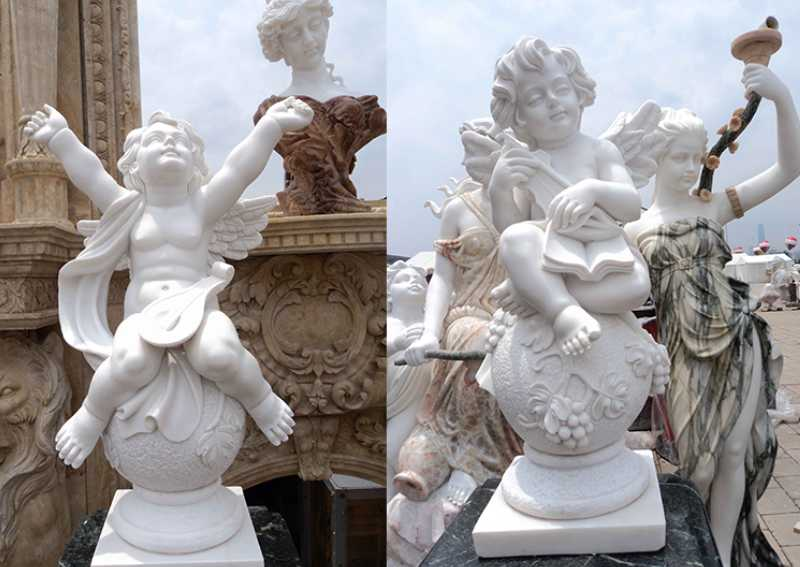 Life Size Little Marble Angel Statues Outdoor Hand Carved Hunan Grade A White For Sale -MOKK-228