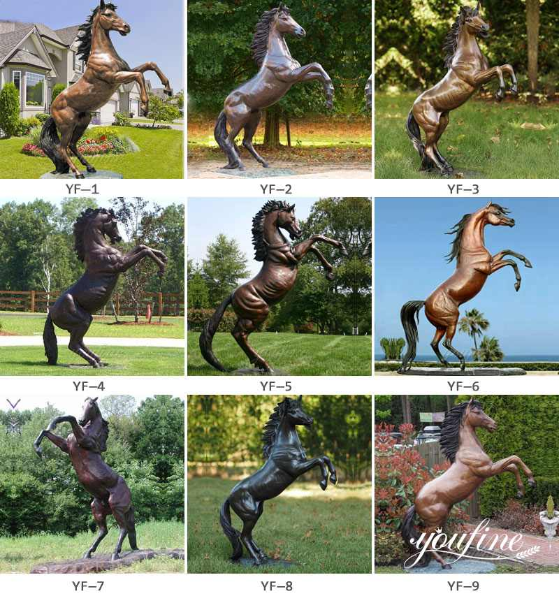 bronze jumping horse statue for sale