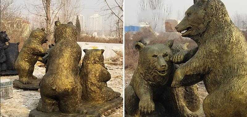 bronze life size grizzly bear statue for sale garden animal sculpture