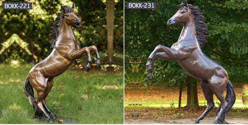 bronze rearing horse garden ornament statue for sale