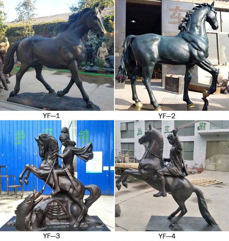 Large Outdoor Decorative Sculptures of Real Size Bronze Horses Are on Sale-BOKK-242