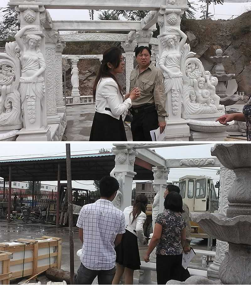 customer visiting our factory for marble gazebo