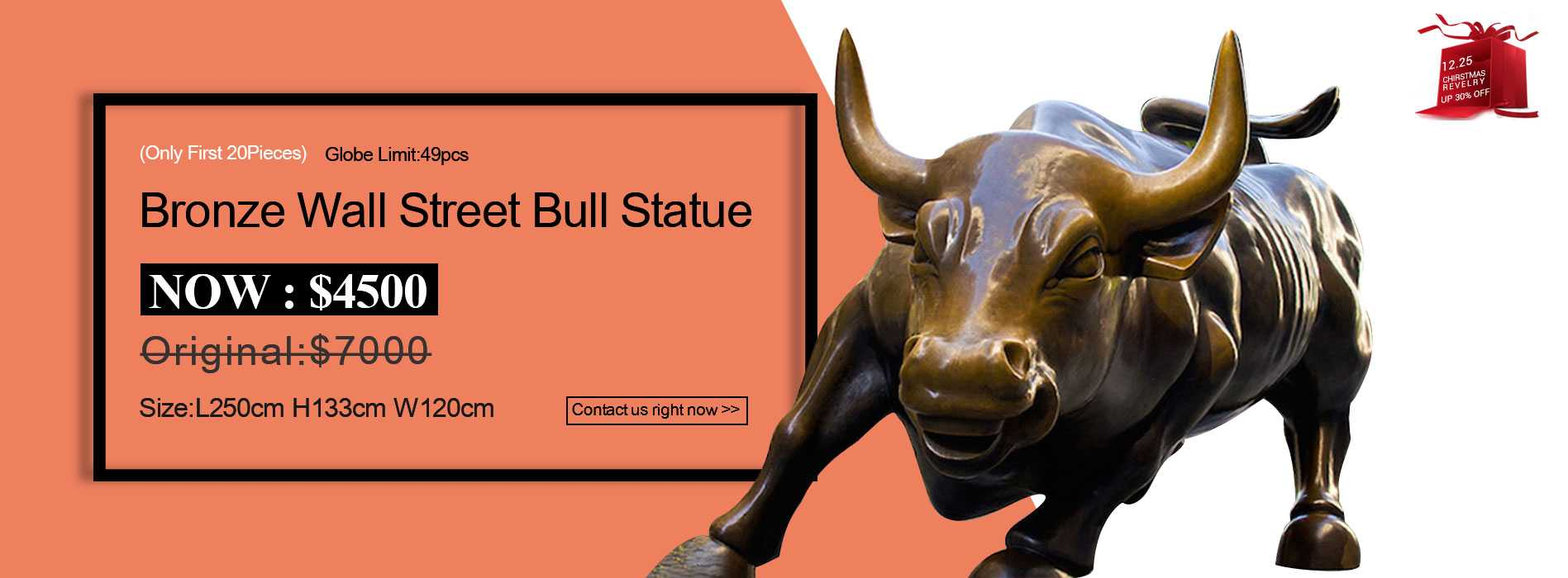 famous bronze wall street bull statue for sale
