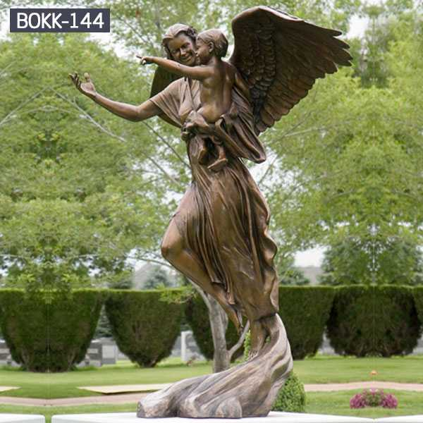 High Quality Beautiful Garden Customized Bronze Classic Angle Sculpture for Sale-BOKK-144