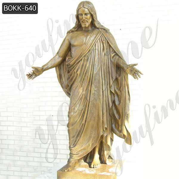BOKK-640 Life Size Outdoor Bronze Saint Christ Jesus Statue with Heads Open Design for Sale